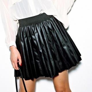 Faux-leather Pleated Skirt