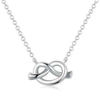 Left Right Accessory - 9k White Gold Romantic Love Knot Necklace (16) Women Jewellery