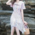 Checked Collared Short-sleeve A-line Dress