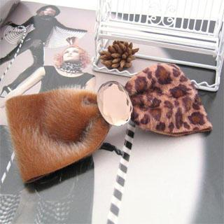 Faux Fur Bow Hair Pin-light Brown