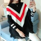 Fringed Batwing-sleeve Sweater