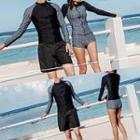 Couple Matching Set: Zip Front Rashguard + Shorts