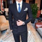 Suit Set: Striped Double Breasted Blazer + Vest + Dress Pants