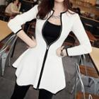 Contrast Trim Peplum Zip Jacket