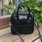 Faux Leather Zipper Handbag With Shoulder Strap