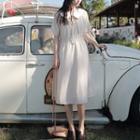 Peter-pan-collar Striped Short-sleeve A-line Dress