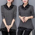 Mock Two-piece Polka Dot Shirt