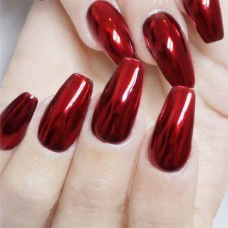 Metallic Faux Nail Tip 168 - Glue - Red - One Size