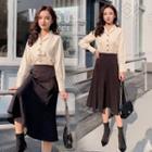 Set: Notch Lapel Blouse + A-line Midi Skirt