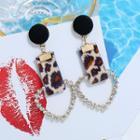 Rhinestone Heart Leopard Print Strap Dangle Earring Leopard - White & Brown - One Size