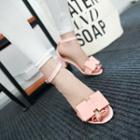 Bow Accent Chunky Heel Sandals