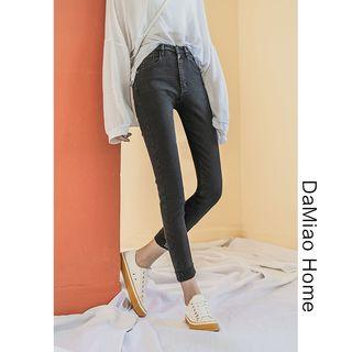 High-waist Embroidered Skinny Jeans