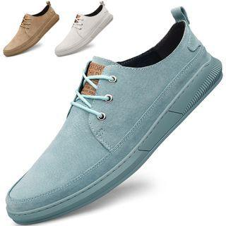 Genuine-leather Plain Lace-up Sneakers