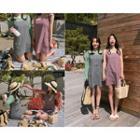 Sleeveless Check-patterned Minidress