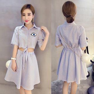 Short-sleeve Cutout Striped Dress