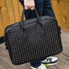 Faux Leather Studded Business Bag