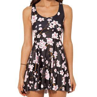 Cherry Blossom Print Sleeveless A-line Dress