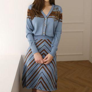 Set: V-neck Cardigan + Printed Skirt