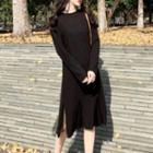 Mesh Panel Sweater Dress