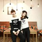 Couple Matching Color Panel Diamond Print Pullover
