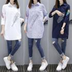 Feather Embroidered Long Shirt