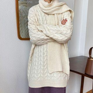Set: Cable-knit Sweater + Scarf