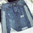 Distressed Panel Denim Skirt