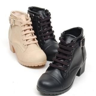 Buckled Lace-up Ankle Boots