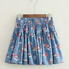 Floral Print A-line Denim Skirt
