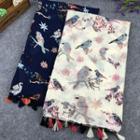 Bird Print Linen Cotton Scarf