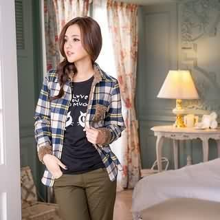 Fleece-accent Plaid Blouse