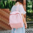 Two Tone Canvas Zipped Backpack