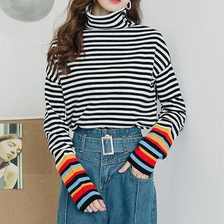 Striped Turtleneck Knit Top Stripe - Black & White - One Size