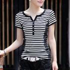 Lace Trim Stripe Short-sleeve T-shirt