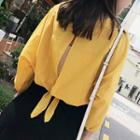 Lace-up Back 3/4-sleeve Top