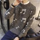 Musical Note Print Sweater