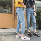 Ripped Asymmetric Washed Jeans
