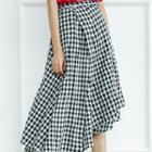 Asymmetric Color-block Check Skirt