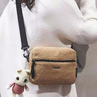 Letter Embroidered Faux Shearling Crossbody Bag