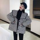Houndstooth Tweed Coat Black - One Size