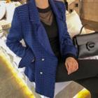 Double-breasted Fringed Houndstooth Blazer