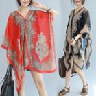 Patterned Chiffon Cape Top