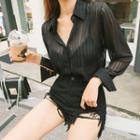 Long-sleeve Stripe Sheer Shirt