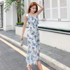 Sleeveless Asymmetric Ruffled Floral A-line Midi Dress
