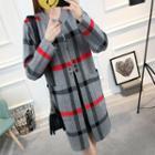 Buttoned Plaid Knit Coat
