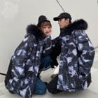 Couple Matching Printed Hooded Parka