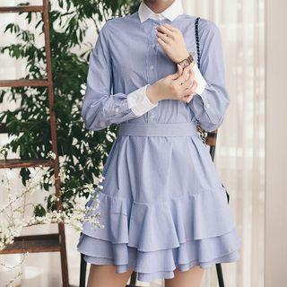 Bow-tied Ruffle-hem Shirtdress