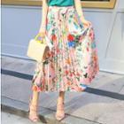 Pleated Floral Print Midi Skirt
