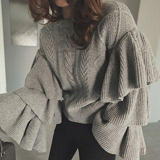 Cable Knit Ruffle Trim Sweater