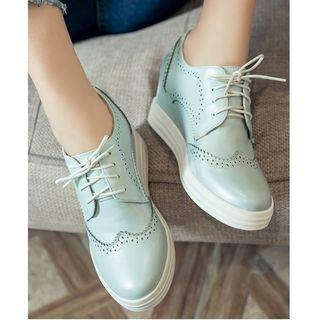 Wedged Brogue Oxfords